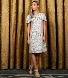 Elegant cotton dress with linen and metallic thread