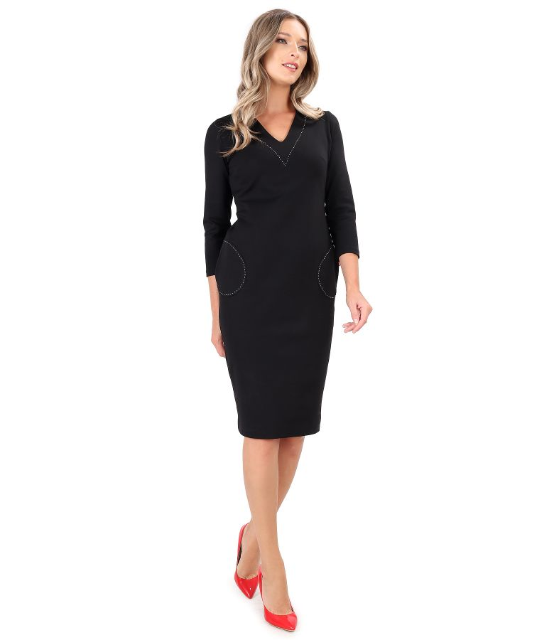 Midi office dress made of thick elastic jersey