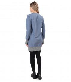 Elastic cotton sweatshirt dress with front pocket