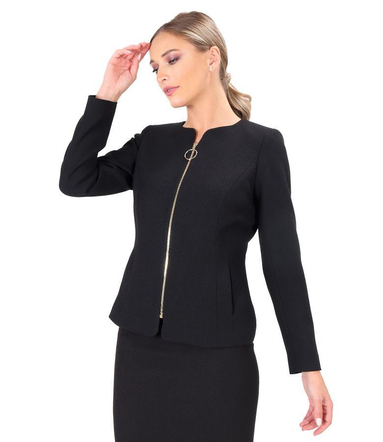 Elegant jacket with front zipper
