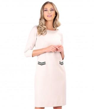 Elastic fabric dress decorated with multicolored elastic