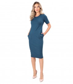 Thik elastic jersey dress with pockets