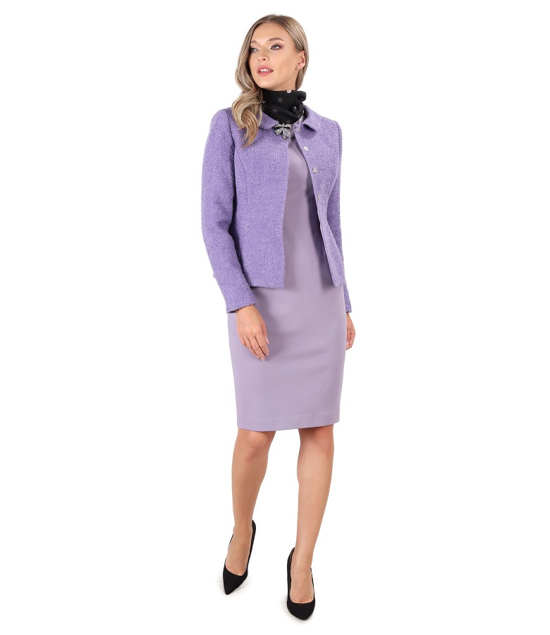 Office outfit with thick elastic jersey dress and  jacket