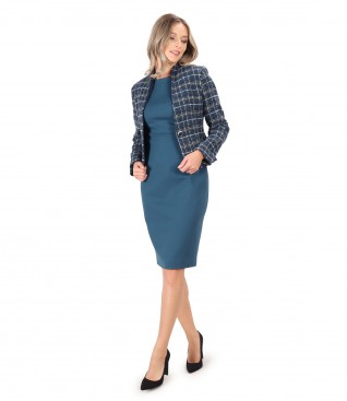 Multicolored jacket with thick elastic jersey office dress