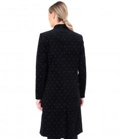 Flowers printed cotton velvet overcoat