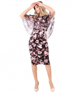 Velvet dress printed with floral motifs with printed veil cape